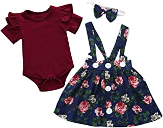 Sameno 3Pcs Toddler Kids Baby Girls Overalls Skirt +Headband+Romper Summer Dress Skirt Dress Clothing Outfit