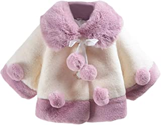 Aivtalk Baby Girls Winter Fur Cape Coat Thick Jacket Cute Pom Pom Warm Outerwears