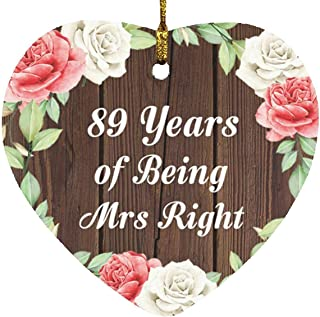 89th Anniversary 89 Years of Being Mrs Right - Heart Wood Ornament A Christmas Tree Hanging Decor - for Wife Husband Wo-Me...
