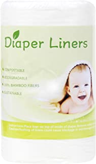 Leekalos Biodegradable Bamboo Diaper Liner Super Soft Disposable Unscent Diaper Liners,100 Sheets