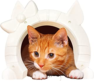 Cat Door for Interior Doors - Kitty Pass with Cats Shaped Portal - Large White Pet Indoor Through Wall Hole for 2-Way Pets...