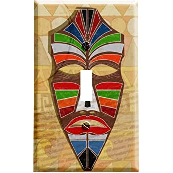 3dRose lsp/_877/_2 African Mask Double Toggle Switch