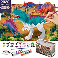 VATOS Dinosaur Painting Kit-Paint Your Own 3D Dinosaur Toys with 12 color Safe and non-toxic watercolor paint,washable...