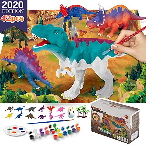 VATOS Dinosaur Painting Kit-Paint Your Own 3D Dinosaur Toys with 12 color Safe and non-toxic watercolor paint,washable Science Arts and Crafts Sets for Boys Girls Kids 3 4 5 6 7 Year Old Best Gift