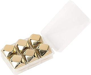 CawBing Gold Edelstahl Whisky Steine - Hohe Kühltechnologie - 6 Whisky Eiswürfel Wiederverwendbar - Edelstahl Eiswürfel - Geschenk für Männer - Whiskey Zubehör