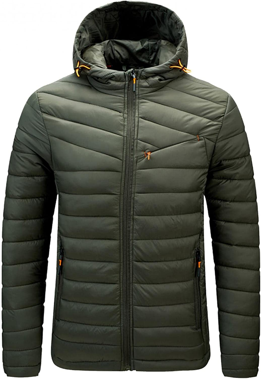 Puffer Jacket Translated for Men Casual Solid Zipper Max 64% OFF Pocket Lightweight Wat