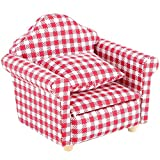 SXFSE Doll House Sofa Arm Chair, 1:12 Scale Wooden Dollhouse Miniature Funiture Decor Couch with Pillow, Kids Play Toy