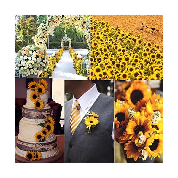 FagusHome 20Pcs Cabezas de Girasol Artificiales Cabezas de Flores Artificiales de 4.7 Pulgadas Cabezas de Girasoles de…