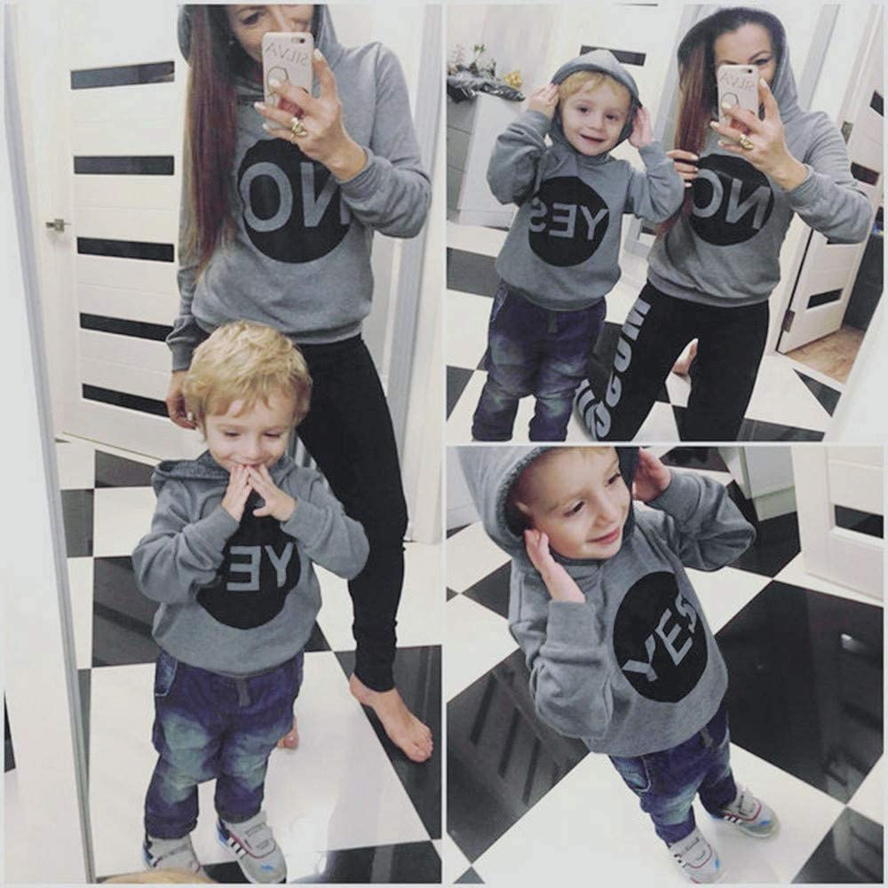 kaiCran Family Matching Mother Daughter Son Hoodie Sweatshirt Long Sleeve Letters Print Casual Sport Tops