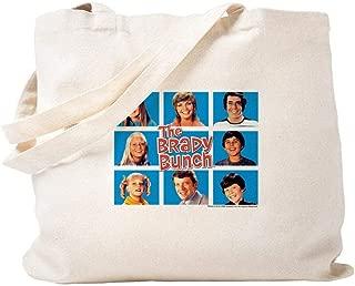 Canvas hand bag - The Brady Bunch Grid - tote bag,shopping bag,beach bag - fashion bag - 14.5x15.5in