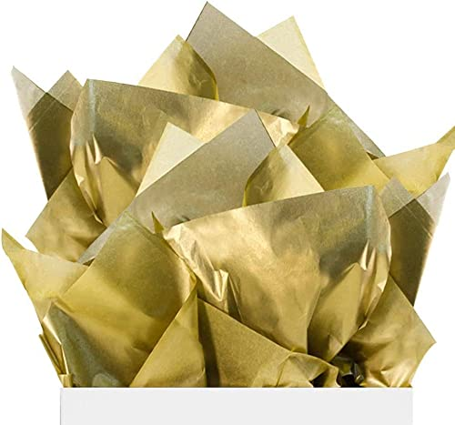 ECO SARRAS Metallic Gold Multi Purpose Wrapping Paper 20x20 Inches USES Gift Wrapping Stuffing Boxes Handbags Shoes ETC 20 Sheets