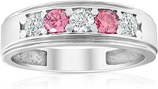 1 Ct T.W. Pink & White Lab Grown Diamond Mens Wedding Ring 5-Stone White Gold