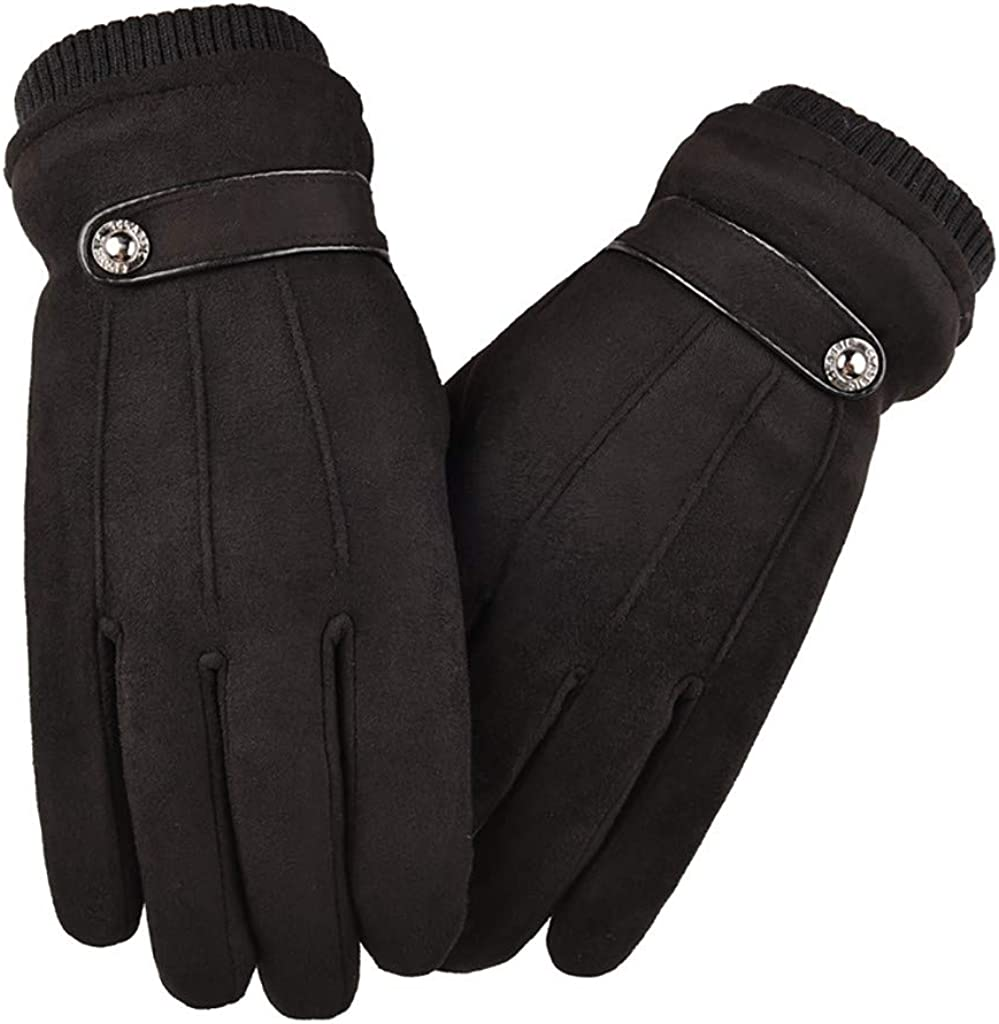 GREFER Winter Warm Gloves for Mens, Fashion Faux Suede Touchscreen Gloves Windproof Mittens