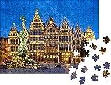 Grote Markt de Amberes,Bélgica, en la Noche del Rompecabezas para Adultos 1000 Pieza,Madera Rompecabezas de la Familia de que el Juego de la Colección de Juego Educativo de Arte para la Pared del Dor