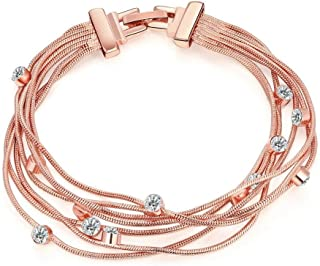 ARB Market 14K Rose Gold Plated Bracelet Made With Swarovski Crystals Snap Lock Clasp Women Girl Gift Jewelry For Women, Birthday, Family And Friends In Birthdays, Anniversaries, Holidays, Occasions