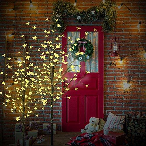 CCLIFE LED Kirschblütenbaum Baum Blütenbaum weihnachtsbaum warmweiß kaltweiß ihnen außen Lichterdeko LED-weihnachtsbaum, Farbe:Warmweiß, Größe:220cm