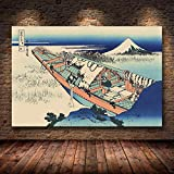 mmzki Estilo japonés Kanagawa Surf Lienzo Pintura Impresionista Cartel Arte de la Pared F Sala de Estar Katsushika Hokusai Cartel Decoración para el hogar