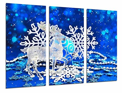 Cuadro Fotográfico Navideña, Reno de Cristal Navidad y copos Nieve, Azul Tamaño...