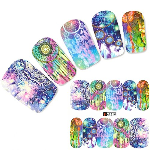 JUSTFOX - Stickers pour ongles attrape-rêves avec plumes et autocollants pour ongles et pieds