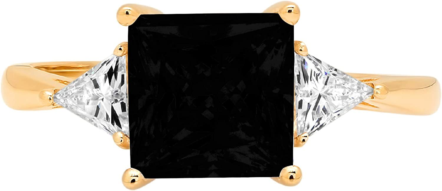 2.34ct Princess Trillion cut 3 stone Solitaire Flawless Natural Black Onyx Gemstone Ideal VVS1 Engagement Promise Statement Anniversary Bridal Wedding Designer Ring Solid 14k Yellow Gold