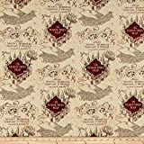 Camelot Fabrics Camelot Wizarding World Marauders Map Fabric, 1, Tan, Fabric by the Yard