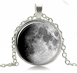 AttractionOil Gifts Astronomy Moon Pendant Waxing Gibbous Moon Jewelry Glass Photo Cabochon Necklace
