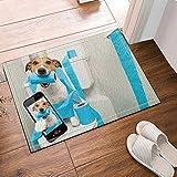 GAOFENFFR Lindo Cachorro Amarillo autofoto y Papel higiénico Azul en el Inodoro Blanco Impermeable Antideslizante Sin químicos Tapetes