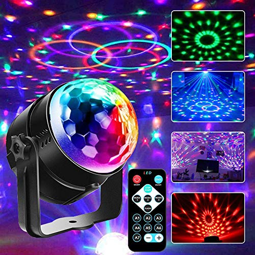 party lights Disco Ball Lights Party Lights SUPERANL Sound Activated Strobe Lights 7 Lighting Color Disco Lights with Remote Control for Kids, Wedding Show, Bedroom, Birthday