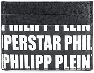 Philipp Plein Moda De Lujo Hombre MVG0260PLE004N0201 Negro Cuero Tarjetero | Temporada Permanente
