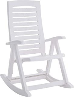 BrylaneHome Foldable Rocking Chair - White