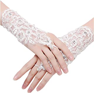 Beautydress Short Lace Fingerless Rhinestone Bridal Gloves for Wedding Party 155