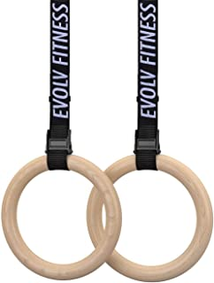 Wooden Gymnastics Rings (Adjustable Straps + Gymnastic Rings + Bonus E-Book) Heavy Duty Olympic Competition Bodyweight Trainer   [Elite Edition]