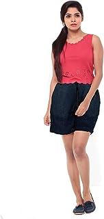 EASY 2 WEAR ® Women Blue Denim Shorts - Elastic Waist and Drawstring - (S to 4XL)