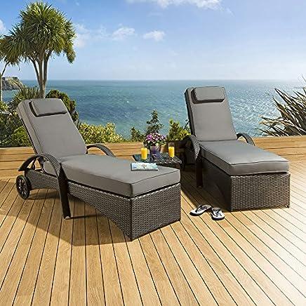 9574e1572252 2 x Luxury Garden Rattan Sun Lounger Sunbed Set with Table Black Grey