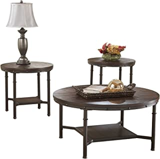 Signature Design by Ashley - Sandlingr Occasional Table Set - Includes Table & 2 End Tables, Rustic Brown