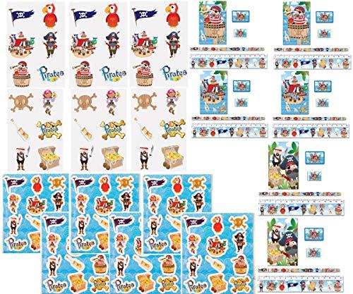 KINPARTY ® - Artículos de PIRATA para niños – Pegatinas – Tatuajes – Material escolar – Para fiestas o regalos de cumpleaños, fiestas piratas, fiestas de verano, relleno de piñatas