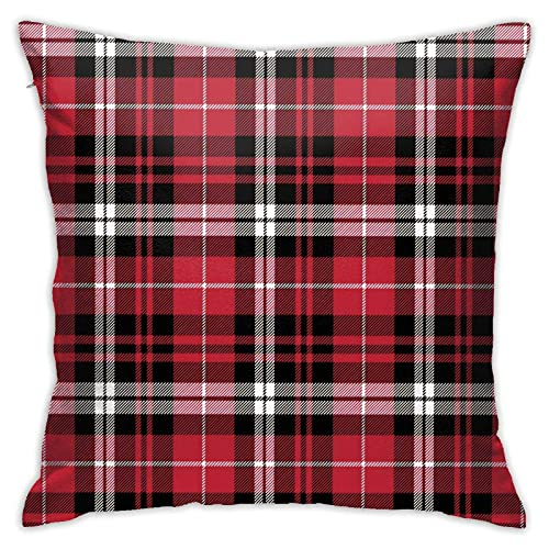 Throw Pillow Cover Fall Plaid Black Red White Soft Throw Pillow Couch Pillowcase Square 18X18 Inch