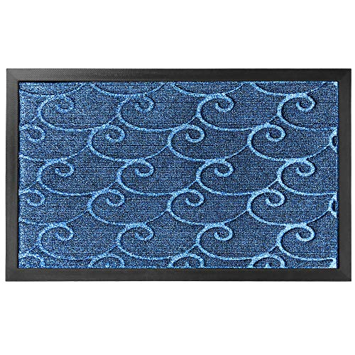 Gorilla Grip Durable Natural Rubber Door Mat, Waterproof, Low Profile, Heavy Duty Welcome Doormat for Indoor and Outdoor, Easy Clean, Rug Mats for Entry, Patio, Busy Areas, 17x29, Ocean Blue Waves
