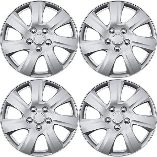 2021 15 inch Hubcaps Best for outlet online sale - Toyota Camry - (Set of 4) Wheel outlet sale Covers 15in Hub Caps Silver Rim Cover - Car Accessories for 15 inch Wheels - Snap On Hubcap, Auto Tire Replacement Exterior Cap outlet online sale