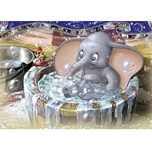 MXJSUA 5D Diamond Painting Full Drill Kits Adults Rhinestone Pasted Arts Craft Home Wall Decor 12x16inch Bathing Elephant