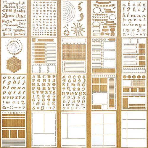 20 Pieces Journal Stencil Set A5 Plastic Planner Ultimate Productivity Stencils Scrapbook DIY Drawing Template Speedy Spread Journal Stencils for Notebook Schedule Diary Calendars Habit Record