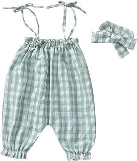 طفل الفتيات منقوشة حللا حزام بلا أكمام رومبير الوليد أكمام sunsuit sunsuit مع headaband (Color : Green, Kid Size : 18M)