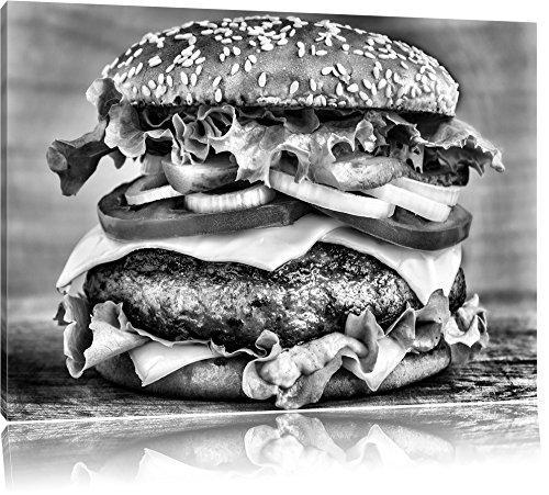 Pixxprint Hamburger Burger Essen als Leinwandbild   Größe: 100x70   Wandbild  Kunstdruck   fertig bespannt