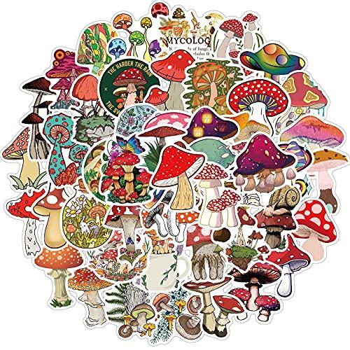 WYZNB 50 pegatinas coloridas de hongos lindas para decoración del casco del ordenador portátil de dibujos animados Doodle Pegatinas