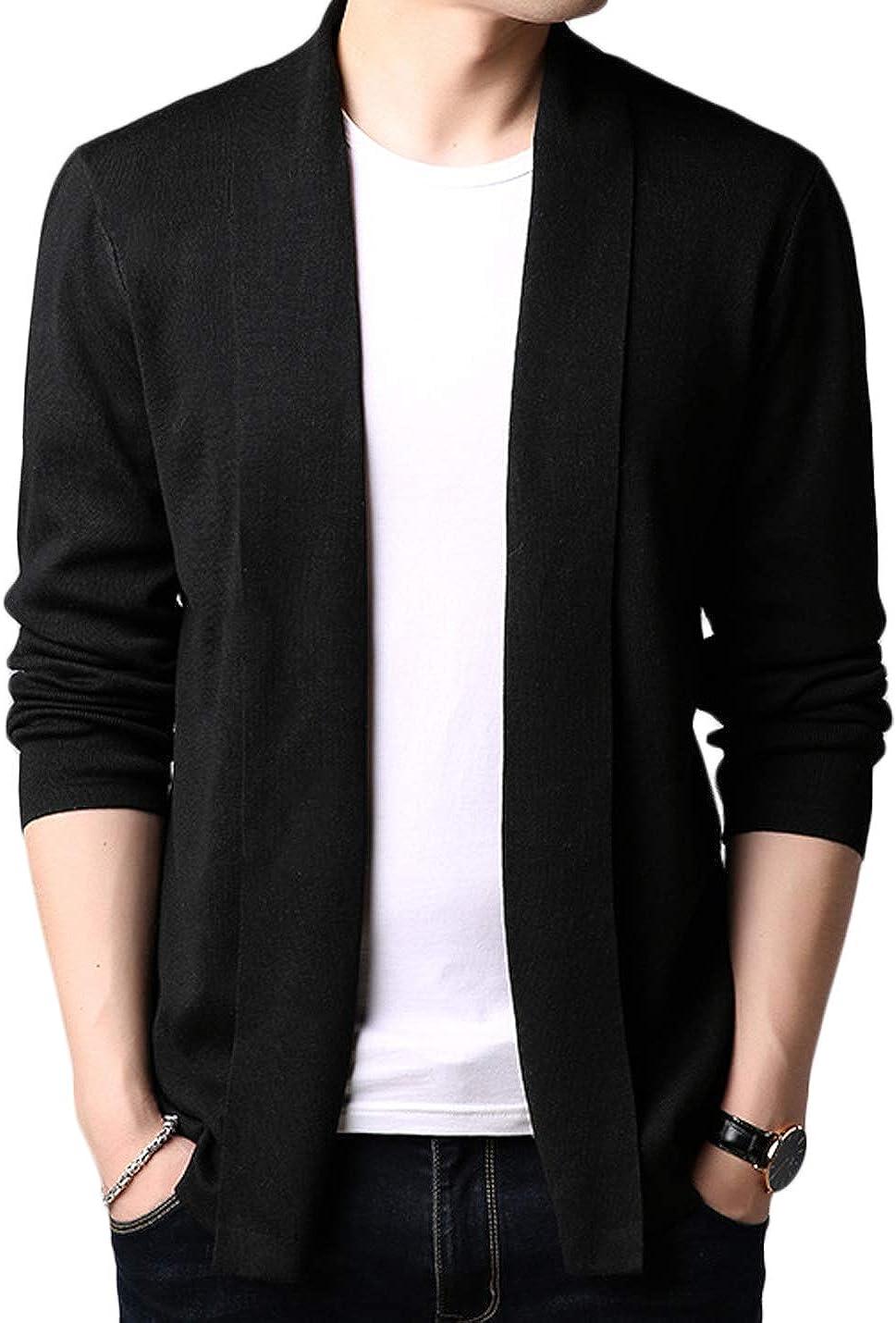 Jenkoon Men's Shawl Collar Cardigan Sweater Lightweight Knit Cardigan