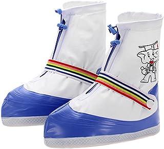 靴カバーファスナー、キッズボーイズガールズ厚手滑り止めソール防水雨雪靴ブーツカバー再利用可能forアウトドアウォーキングキャンプ釣りGardenサイクリング旅行Overshoesサイクリング保護ギア US サイズ: XL カラー: ブルー