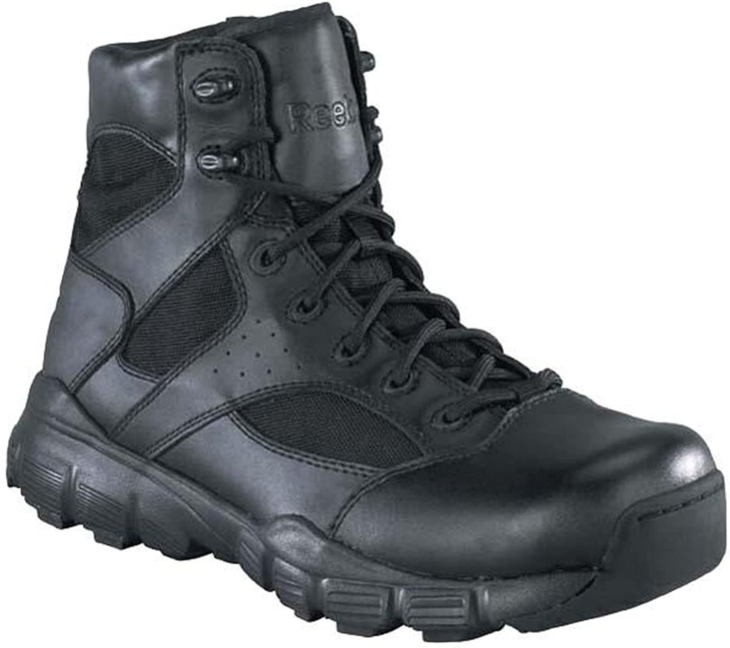 Reebok Mens Black Leather Nylon 6in Tactical Boots Dauntless Soft Toe