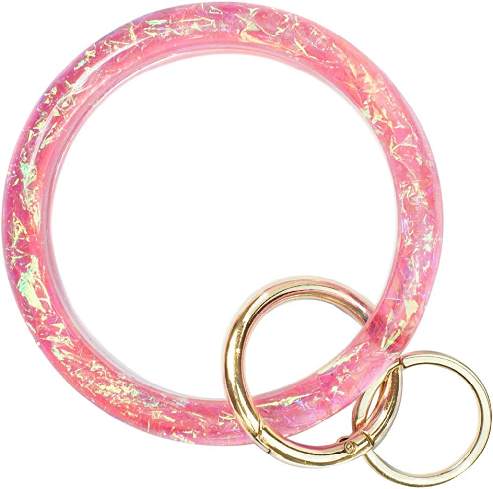 Bangle Key Ring Bracelet for Women, Wristlet Keychain Bracelets Holographic Circle Keyring for Wrist, Gift for Women Girls