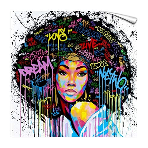 FONWAPAI Afro American Sexy Strapless Woman Canvas Printing Wall Decoration,Black Art Modern Abstract Painting for Office(Strapless,24'x24',UnFramed)