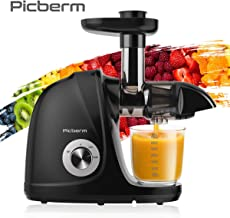Juicer Machines, Picberm PB2110A Slow Masticating Juicer Extractor with Quiet Motor Easy to Clean, BPA-Free Anti-clogging Cold Press Juicer with Peeler, Brush, Recipes for Fruits and Vegetables, Black